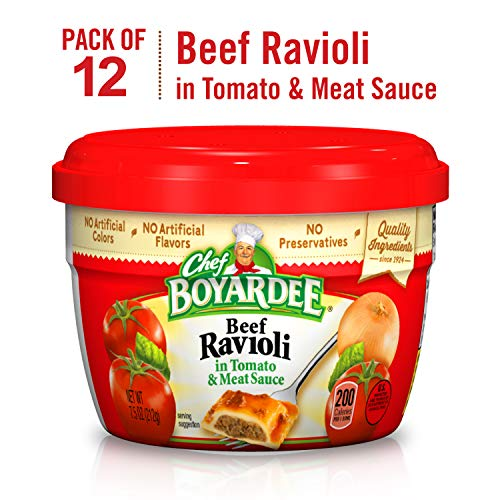 - Chef Boyardee Beef Ravioli, 7.5-Ounce Microwavable Bowls (Pack of 12)