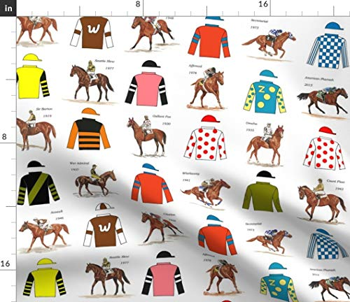 horse racing silks Fabric - Horse Race Jockeys Uniforms Off To The Races Horses Horse Racing Derby Triple Crown Equestrian by Leroyj Printed on Linen Cotton Canvas Ultra Fabric by the Yard