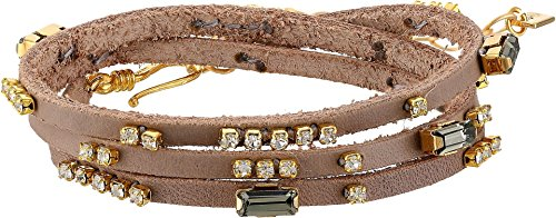 Taupe Mix (Chan Luu Women's Triple Wrap Leather Bracelet with Crystals Taupe Mix One Size)