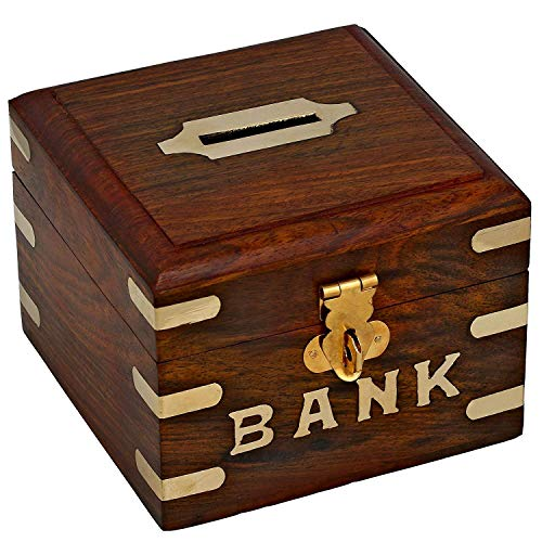 Artncraft Chirstmas Sale -Safe Money Box Wooden Piggy Bank For Boys Girls And Adults