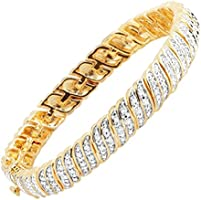 1 ct Diamond Tennis Bracelet in 18K Gold-Plated Brass