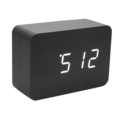 LMSHM Despertador Reloj De Alarma Led De Madera De Cubo ...
