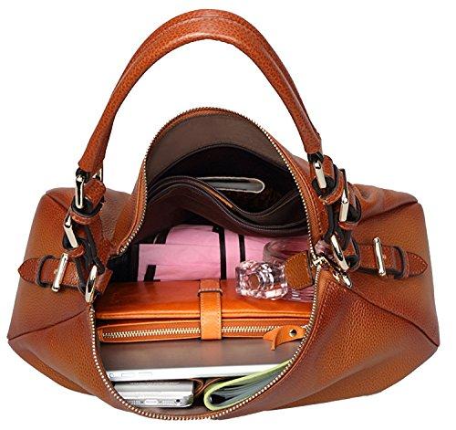 Heshe Womens Leather Handbags Vintage Shoulder Bags Top Handle Crossbody  Bag Satchel Handbag and Purses for Ladies 1a297ab94a25e