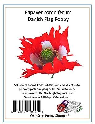 500 Poppy Flower Seeds. Papaver Somniferum. Danish Flag Poppies. One Stop Poppy Shoppe® Brand.