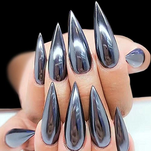 POYING 0.5g Sexy Mirror Black Nail Glitter Powder Dazzling DIY Chrome Pigment Dust for Nail Art Decorations Manicure Black Base CHXH600 by POYING