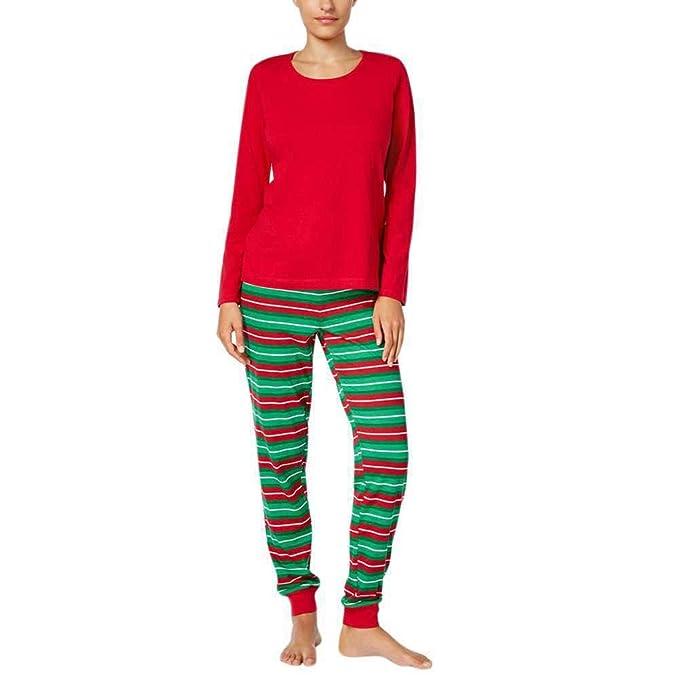 Pijamas de Navidad Familia Pantalones de Pijamas a Rayas Conjunto de Ropa de Dormir de Navidad