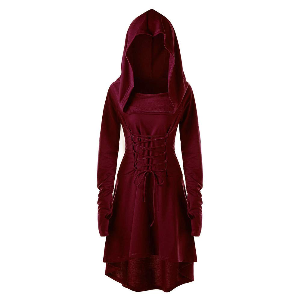 JUTOO Women Costumes Lace Up Hooded Vintage Pullover High Low Bandage Long Dress Cloak
