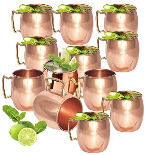 Set of 12 - Fashion.Women Copper Mug for Moscow Mules 16 Oz - 100% Pure Copper - Lacquered Finish - Solid Copper Best Quality Moscow Mule Mug, Cocktail Cup, Copper Mugs, Cocktail Mugs by Fashion.Women