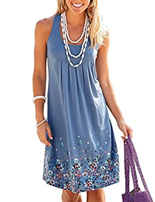 OMEYA WL Women's Summer Casual Loose Mini Dress Print Pleated Sleeveless Sundress A-Line Beach Dresses