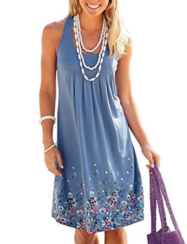 OMEYA WL Women's Summer Casual Loose Mini Dress Print Pleated Sleeveless Sundress A-Line Beach Dresses (XL, Blue)