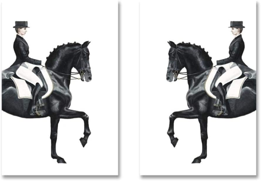 Zhaoyangeng Modernas Y Lujosas Figuras De Lienzo De Caballo, Carteles Abstractos, Impresiones De Cuadros De Arte De Pared Para Sala De Estar, Decoración De Pasillo, 50X70Cmx2 Sin Marco