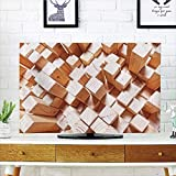 iPrint LCD TV Cover Multi Style,Geometric Decor,Natural Wooden Rustic Square Figures High and Low Oak Logs Timbre Design,Sand Brown,Customizable Design Compatible 37'' TV