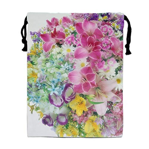 Lilies Roses Carnations Daisies Bouquets Print Drawstring Bag for Kids Party Favors Supplies Backpack Gym