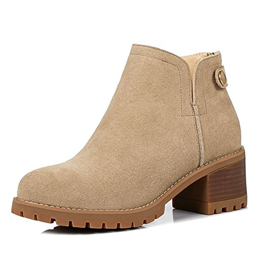 DecoStain Women's Cow Suede Leather Nubuck Mid Heel Ankle Leisure Boots Apricot qFwlxo0voI