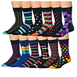 crazy color socks - ColorfutMen's 12 Pairs Soft Cotton Colorful Funky Gift Box Dress Socks, Fits shoe 6-12 (sock size 10-13), CMC01