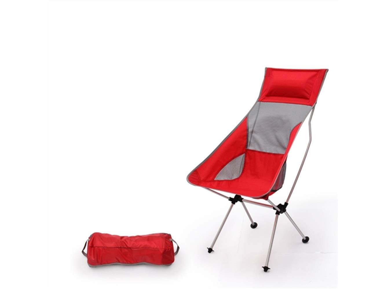 OHlive Faltbar Kreative Klapp Angeln Stuhl Liege Camping Stuhl für Outdoor und Angeln (rot)