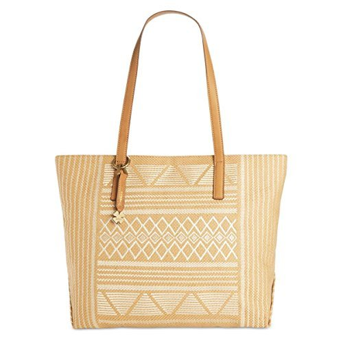 Lucky Brand Womens Cassis Woven Faux Leather Trim Tote Handbag Tan Large