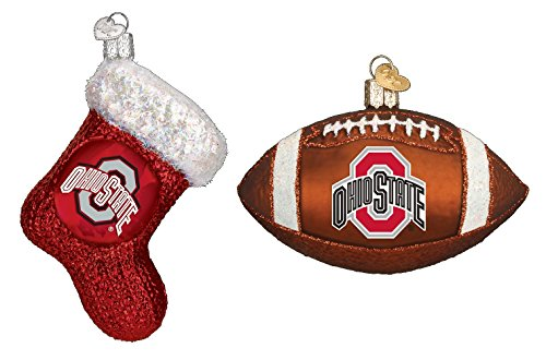 Set of Ohio State University Buckeyes Stocking and Football Glass Christmas Ornaments ()