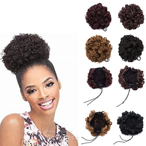 (2 Pack Afro Hair Bun Afro Puffs Drawstring Ponytail Afro Ponytail Hair Extensions Synthetic Curly Ponytail Synthetic Drawstring Puff Ponytail Hair Extensions Natural Black)