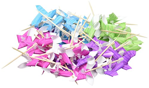 Assorted Printed Paper Pinwheel Picks | 50 -
