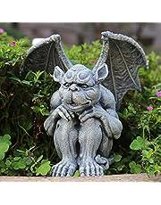 OwMell Gargoyle Statue Garden Guardian Sculpture Figurine Gothic Indoor Outdoor Garden Decor Statue, Sitting with Hands on Knees 7 Inch