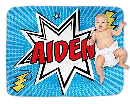 Comic Book Nursery Baby Blanket Personalized Superhero Keepsake for Boy Photo Prop Baby Shower - Keepsake Superhero