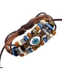 Charm Blue Eyes Multistrand Leather Braided Handmade Adjustable Bracelet