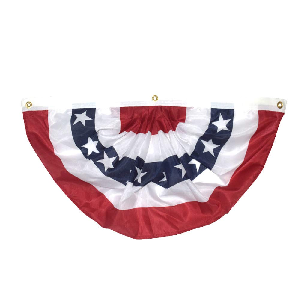 Opef USA Pleated Fan Flag, USA Bunting Decoration Flags Embroidered Patriotic Stars & Sewn Stripes Canvas Header Brass Grommets by Opef