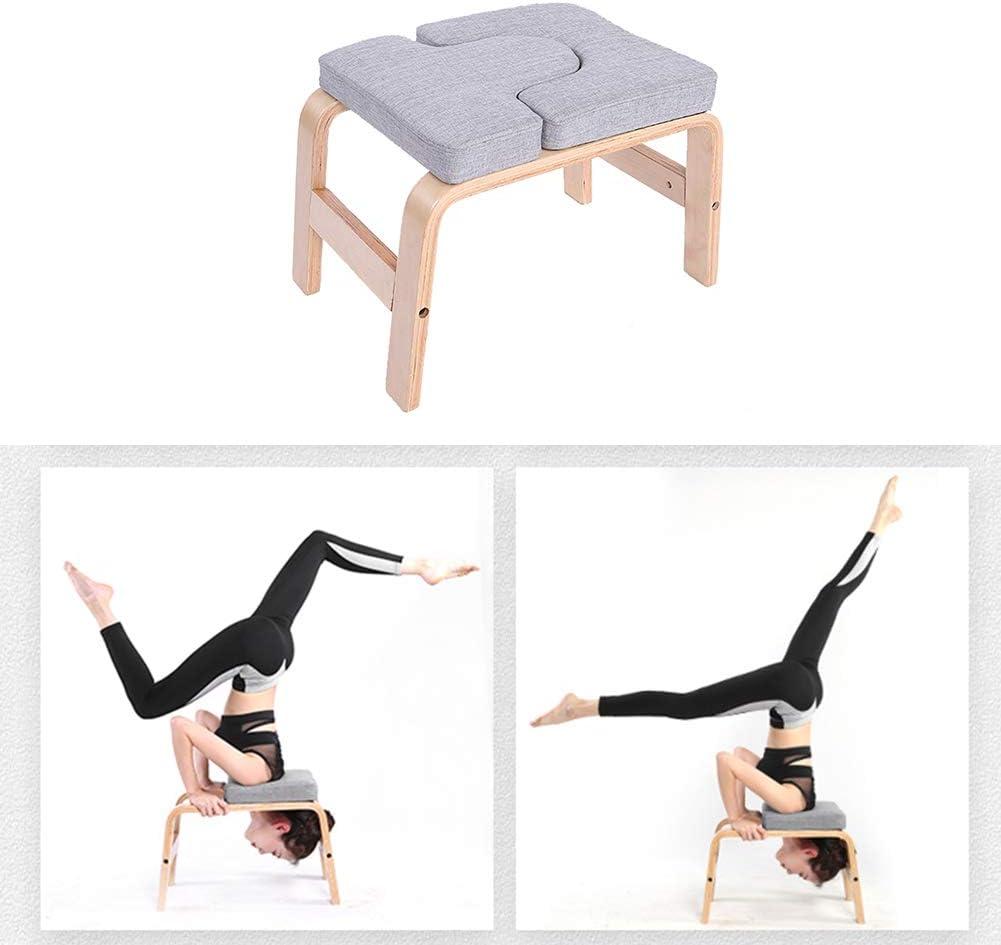 el gimnasio alivie la fatiga y d/é forma al cuerpo Banco de soporte para yoga Banco Soporte de madera Silla de inversi/ón de yoga Taburete Soporte de mano con almohadillas de PVC para la familia