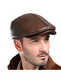VEMOLLA Men's Real Cowhide Leather Beret Hunting Cap Beanie Mens Sports Hat