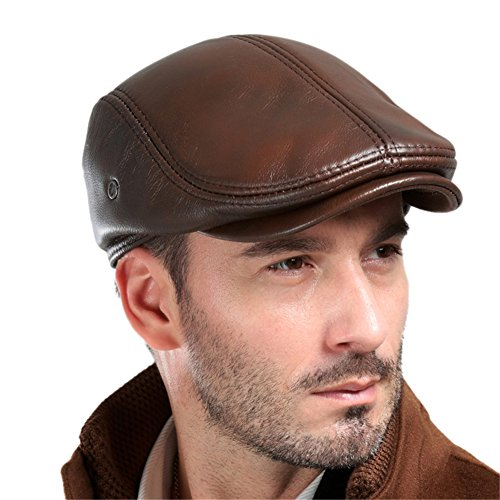 VEMOLLA Men's Real Cowhide Leather Beret Hunting Cap Beanie Trucker Cap Mens Sports Hat Ancient Brown XXL