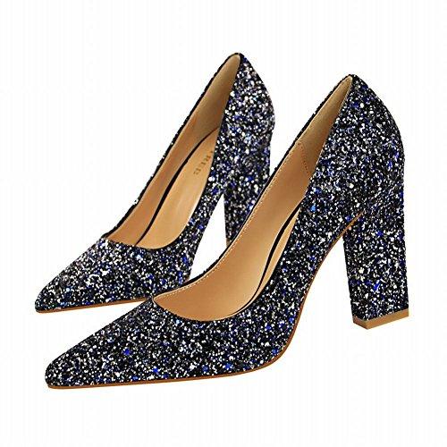 MissSaSa Damen high heel Pailletten Spitz Pumps/Partyschuhe Blau