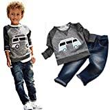 Baby Boy's Clothes, Mchoice Toddler Boys Outfit Clothes Car Print T-shirt Tops+Long Jeans Trousers 1Set (6~7 Years old, Grey)