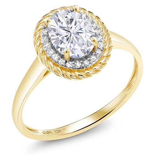 10K Yellow Gold Solitaire w/Accent Stones Ring Forever Classic Oval 1.50ct (DEW) Created Moissanite by Charles & Colvard and (Yellow Gold Created Moissanite Ring)