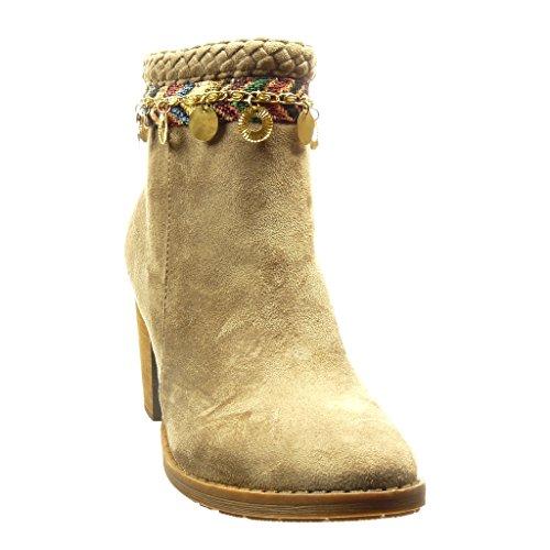 Angkorly - Scarpe da Moda Stivaletti - Scarponcini low boots donna catena metallico fibbia Tacco a blocco tacco alto 7.5 CM - Khaki