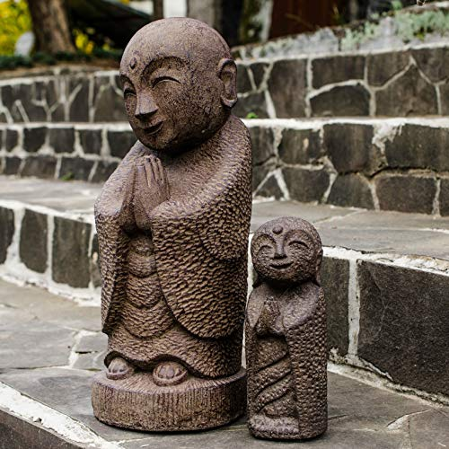 MISC 8X3 Inch Buddha Smiling Statue Indoor Outdoor, Brown Namaste Jizo God Figurine, Small Indonesia Sitting Buddhist Sculpture Home Garden Oriental Decor, Basalt ()