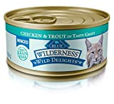 Blue Wilderness Wild Delights Adult Grain Free Minced Chicken & Trout In Tasty Gravy Wet Cat Food 5.5-Oz (Pack Of 24)