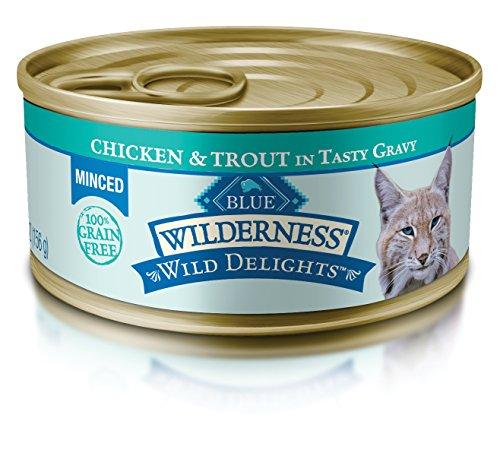 Blue Wilderness Wild Delights Adult Grain Free Minced Chicken & Trout In Tasty Gravy Wet Cat Food 5.5-Oz (Pack Of 24)