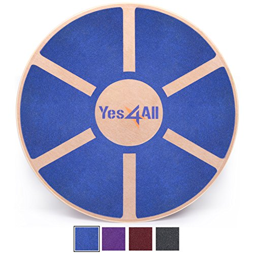 Yes4All Wooden Wobble Balance Board  Exercise Balance Stability Trainer 15.75 inch Diameter - Blue - L6CJZ