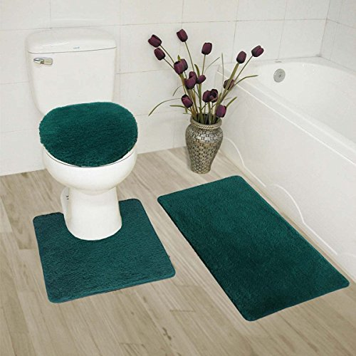 (MK Home Collection 3 Piece Bathroom Rug Set Bath Rug, Contour Mat & Lid Cover Non-Slip with Rubber Backing Solid Hunter Green)