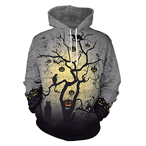 iDWZA Women's Fashion Casual Halloween Pattern Print Hooded T-Shirt Top Blouse(XL,Gray)