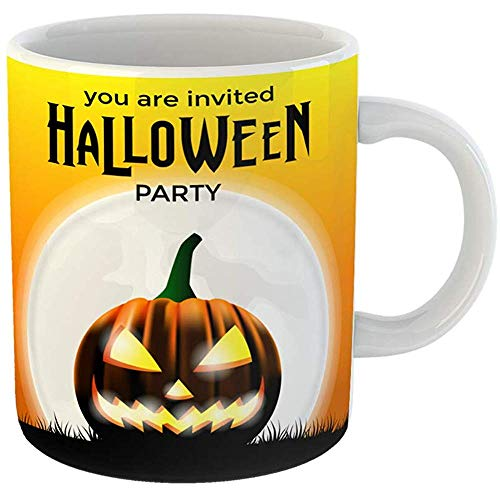 11 Ounces Coffee Tea Mug Gifts Funny Ceramic Halloween Party Scary Face of Jack O Lantern Pumpkin for Trick Treat Event Gifts For Family Friends Coworkers Boss Mug