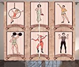Ambesonne Circus Decor Curtains, Vintage Circus Characters Acrobat Bearded Lady Gymnast Strong Man Harlequin Mime, Window Drapes 2 Panel Set for Living Room Bedroom, 108 WX90 L Ligth Pink Tan