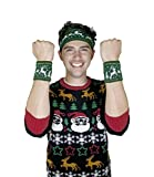 Holiday Party Ugly Sweater Sweatband and Wristbands, 3 piece set - By 30 Watt