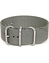 DaLuca Ballistic Nylon Military 1 Piece Watch Strap - Grey (Matte Buckle) : 18mm