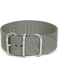 DaLuca Ballistic Nylon NATO 1 Piece Watch Strap - Grey (Matte Buckle) : 20mm