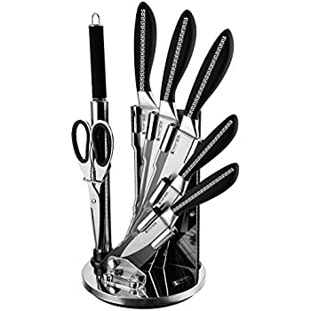 Imperial Collection Premium Stainless Steel Kitchen Knife Set With with Rotating Block Stand, Black - 8 Piece set