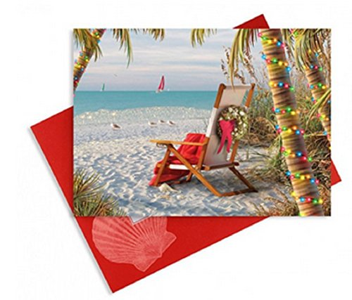 16 Embellished Christmas Cards and Envelopes, Tropical Holiday Breeze