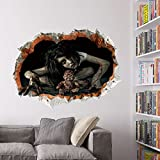 "CQI 3D Female Ghost Breaking Wall Halloween Decoration 24""×18"" Removable Home Decal Vinyl Wall Sticker Art Decor (Design1)"
