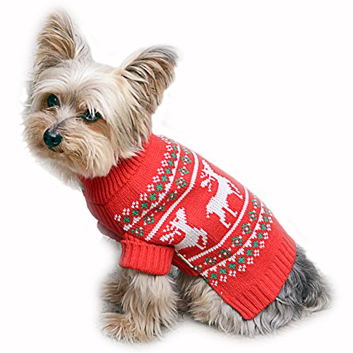 Stinky G Festive Reindeer Dog Sweater Red size #10